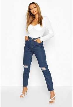 Mid blue blue High Waist Distressed Mom Jeans