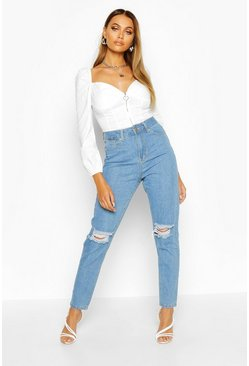 Light blue blue High Waist Distressed Mom Jeans