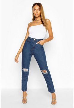 Mid blue High Waist Distressed Mom Jeans