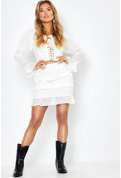 White Woven Broidery Lace Up Top + Mini Skirt Co-Ord Set