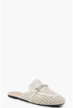 White Woven Mule Loafers