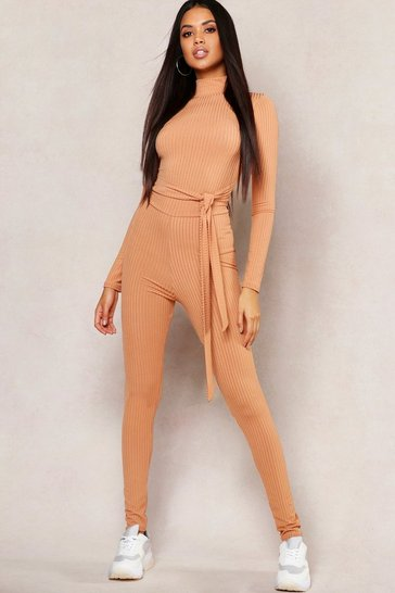Camel beige Basic Jumbo Ribbed High Waisted Leggings