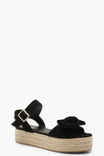 Black Bow Trim Espadrille Flatforms