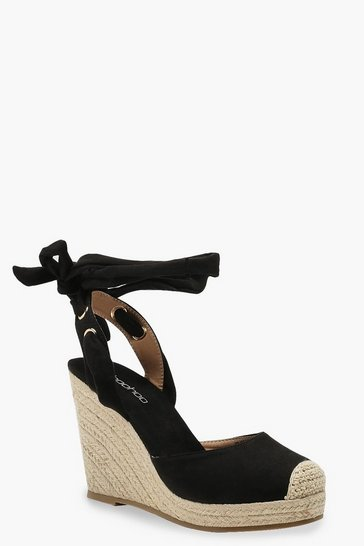 Black Round Toe Espadrille Wedges
