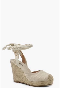 Natural Round Toe Wrap Espadrille Wedges