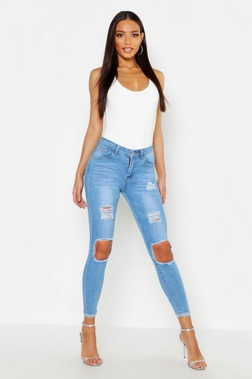 Light blue blue High Waisted Distressed Skinny Jeans