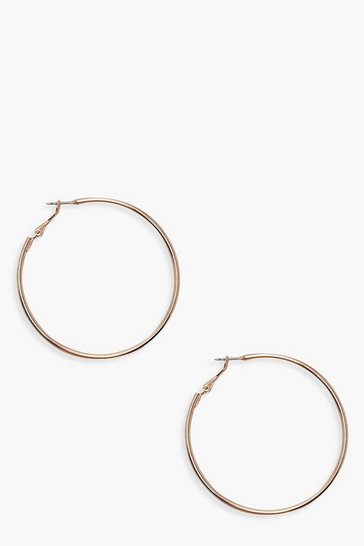 Rose gold metallic 6cm Hoop Earrings