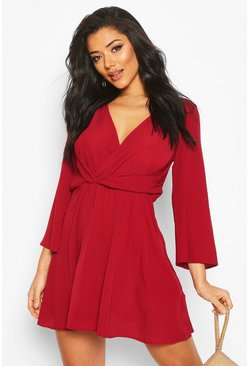Berry red Tie Detail Flared Sleeve Skater Dress