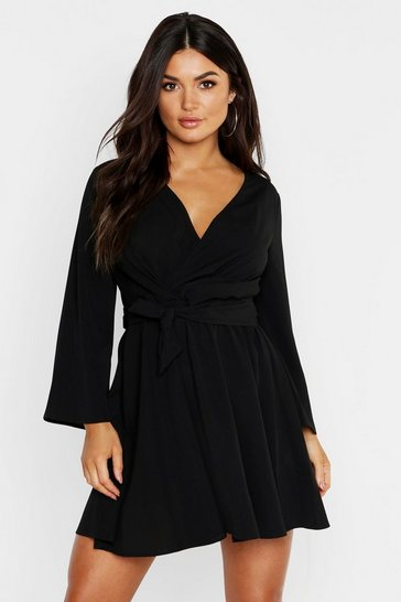 Black Tie Detail Flared Sleeve Skater Dress