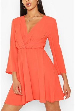 Orange Tie Detail Flared Sleeve Skater Dress