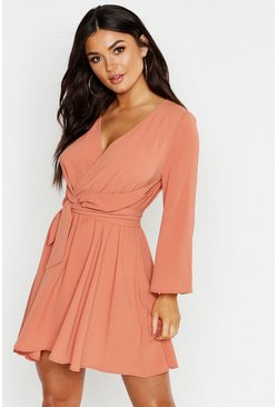 Rose pink Tie Detail Flared Sleeve Skater Dress