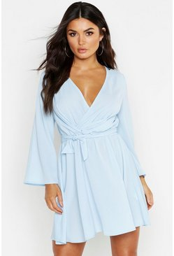Sky blue Tie Detail Flared Sleeve Skater Dress