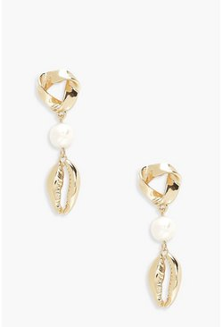 Pearl & Gold Shell Drop Earrings