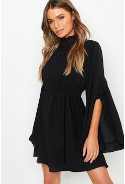 Black Boho High Neck Wide Sleeve Shift Dress