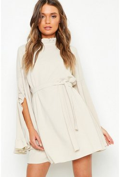 Ecru white Boho High Neck Wide Sleeve Shift Dress