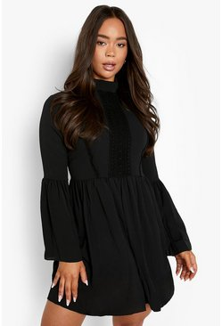 Black Boho Crochet Detail Wide Sleeve Smock Dress