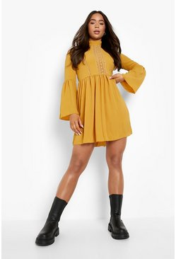 Mustard yellow Boho Crochet Detail Wide Sleeve Smock Dress