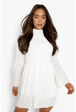 White Boho Crochet Detail Wide Sleeve Smock Dress