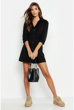 Black Tonal Utility Shirred Waist Shirt Dress