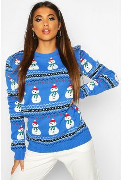 Blue Snowman Fairisle Christmas Jumper