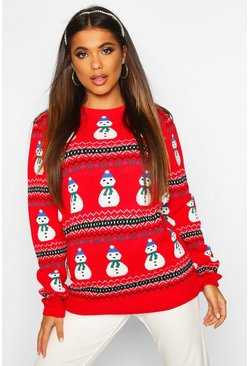 Red Snowman Fairisle Christmas Sweater
