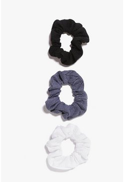 Black svart Scrunchies (3-pack)