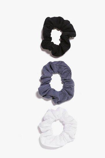 Black 3 Pack Textured Scrunchies