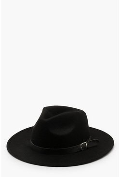 Black Fedora Hat With Buckle Trim