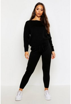 Black Slash Neck Knitted Set