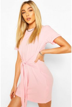 Baby pink pink Tie Waist T-Shirt Dress