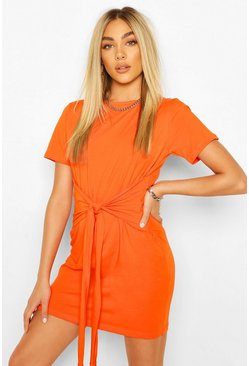 Orange Tie Waist T-Shirt Dress