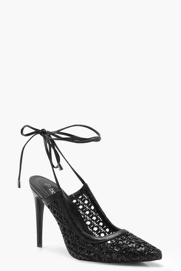 Black Woven Wrap Pointed Court Shoe Heels
