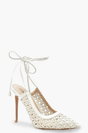 White Woven Wrap Pointed Court Heels