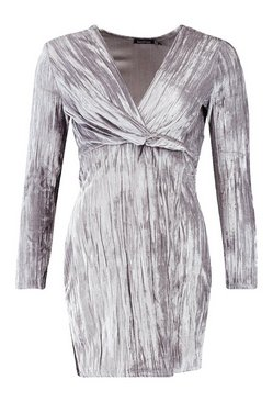Grey Velvet Twist Front Mini Dress