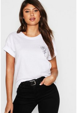 White Rose Pocket Print T-Shirt