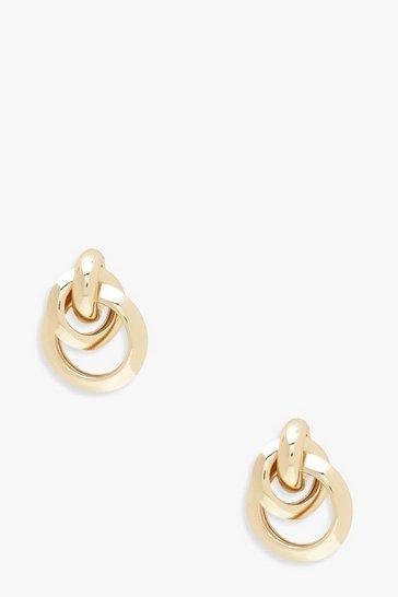 Gold metallic Multi Circle Linked Earrings