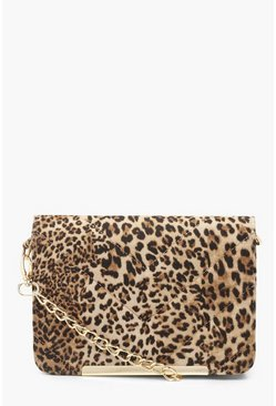 Natural beige Leopard Quilted Cross Body Bag
