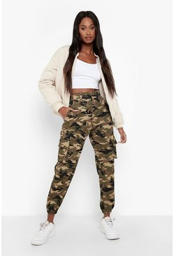 Khaki Camo Print Elasticated Hem Cargo Pants