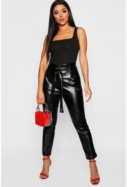Black Leather Look Paper Bag Trouser