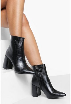 Ankle Boots mit Blockabsatz in Kroko-Optik, Schwarz