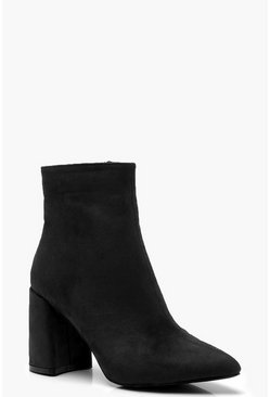 Black Block Heel Sock Boots