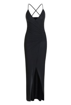 Black Crepe Plunge Wrap Detail Maxi Dress