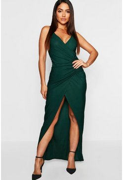 Emerald green Crepe Plunge Wrap Detail Maxi Dress