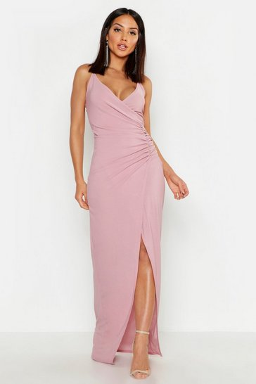 Mauve purple Crepe Plunge Wrap Detail Maxi Dress