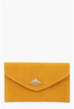 Mosterd yellow Envelopvormig Clutch Tasje Met Metalen Insect