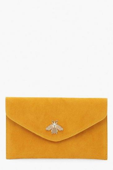 Mustard yellow Metal Bug Envelop Clutch Bag