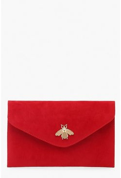 Red Metal Bug Envelop Clutch Bag
