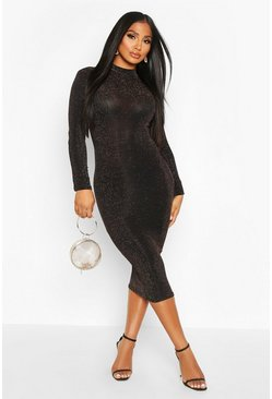 Gold metallic Long Sleeve Glitter Midi Christmas Party Dress