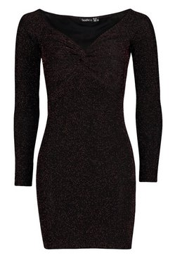 Black Glitter Knot Front Bardot Mini Dress