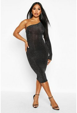 Black One Shoulder Glitter Midi Dress